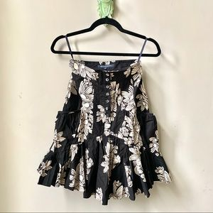 French Connection 6 Floral Black Mini Ruffle Skirt